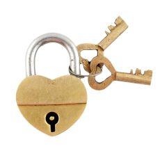 Brass Heart Shaped Lock With Keys In Pair