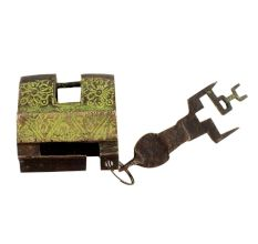 Brass Contemporary Style Lock With Keys In Pair