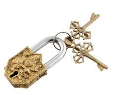 Brass Door Padlock Goddess Saraswati Sculpture
