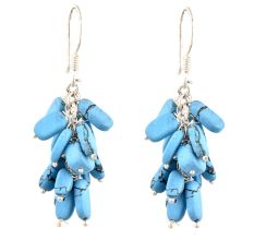 Turquoise Bunch 92.5 Sterling Silver Drop Earrings