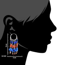 Multicolored Stone Gypsy 92.5 Sterling Silver Hoop Earring