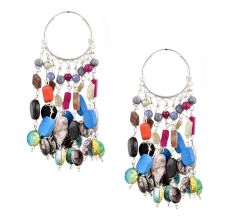 Colorful Stone 92.5 Sterling Silver Bali Hoop Chandelier Earring
