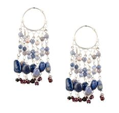Blue Stone 92.5 Silver Sterling Boho Hoop Chandelier Earrings