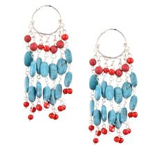 92.5 Sterling Silver Turquoise Bali Hoop Chandelier Earrings