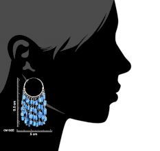 92.5 Sterling Silver Turquoise Chandelier Hoop Tribal Earrings