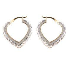 92.5 Sterling Silver Open Heart Hoop Earrings