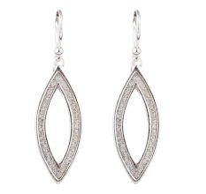Shimmery Oval  Drop 92.5 Sterling Silver Dangle Earrings