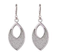 Shimmery Fill In 92.5 Sterling Silver Teardrop Frame Earrings