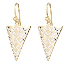 Women 92.5 Gold plated Sterling Silver Long Triangle Earrings
