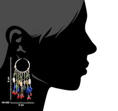 92.5 Sterling Silver Bohemian Style Colorful Tone Chandelier Earrings