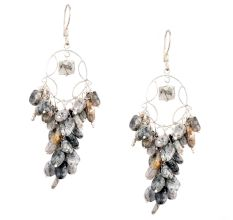 Grey Bead Nugget Cluster 92.5 Sterling Silver Drop Earrings