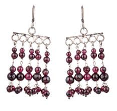 92.5 Sterling Silver Earrings Purple Bead Chandelier Earrings