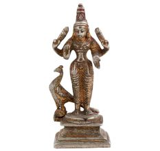Brass God Karthikeya Statue Beautiful Peacock In Nickel Finish