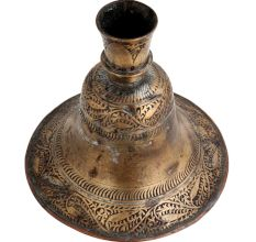 Brass Hookah Base Engraved Leaves With Round Base