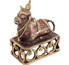 Brass Nandi Bull On Decorative Platform Showpiece
