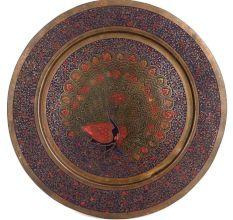 Vintage Brass Plate Peacock Etched Floral Leaf Pattern