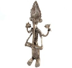 Brass Tribal Dokra Musician Ganesha Statue