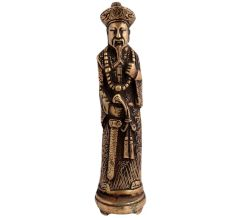 Brass Chinese King Standing With Sword Statue