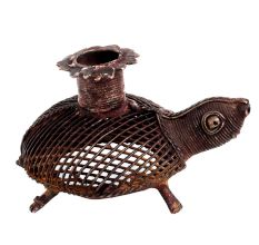 Brass Dokra Art Jali Design Tortoise Candle Holder