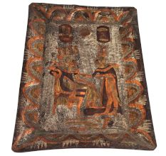 Hand Painted Rectangular Egyptian Queen And King Serving Tray