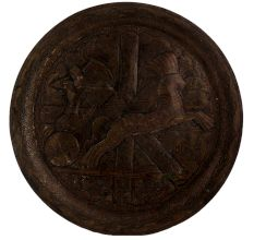 Brass Oval Egyptian King Hunting Rider On Horse Wall Hanging Plate