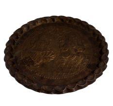 Brass Laxmi Ganesh Engraved Serving plate Wall Hanging