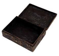 Old Brass Chinese Inscription Engraved Rectangular Box