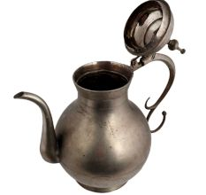 Brass Bulged Mughal Tea pot And Stylish Handle With Nickel Plating