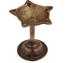Brass South Indian Five Wick Oil Lamp
