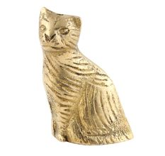 Brass Wild Cat Statue Sitting For Home Decoration