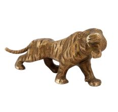 Brass Angry Tiger Statue For Home Decoration