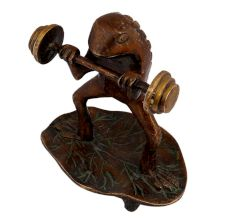 Funny Brass Weight Lifting Frog Statue Standing On Leaf