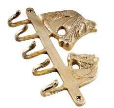 Golden Brass Two Horse Head Coat Key Hook  Hanger
