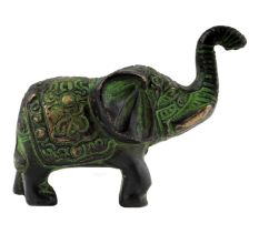 Brass Elephant Statue Carved With Detailed Engravings In Patina Finish