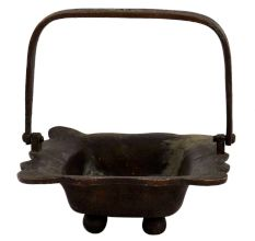Brass Rectangular Tray With Handle And Scalloped Edges