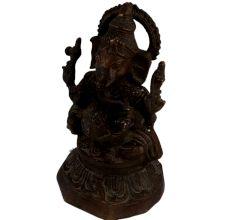 Brass Sitting Ganesha Statue On lotus Base