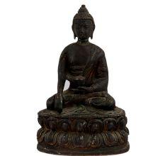 Brass Meditating Buddha Sitting On Lotus Base In Black Finish