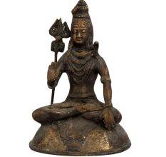 Brass Mahakal Shiva Meditating Statue On Lion Base