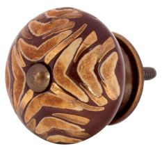 Cherry Wave Etched Ceramic Cabinet Knobs