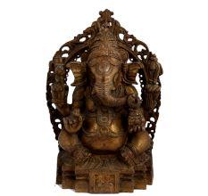Old Brass Sitting Ganesha Idol With Prabhavali Worship Statue