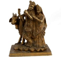 Brass Radha Krishna With Cow Statue