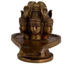 Brass Three Shiva Faces Shivling Worship Statue