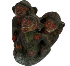 Brass Three Monkey Sitting Together Statue