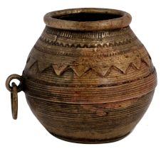 Brass Tribal Rice Measuring Pot With One Ring Handle