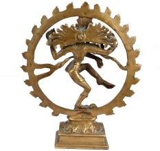 Golden Brass Shiva Statue King Of Dance Gift And Decoration