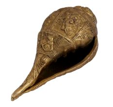 Carved God Image Brass Shankh Conch Shell Showpiece