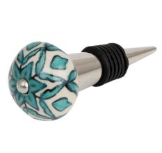 Sea Green Flower Ceramic Wine Bottle Stopper