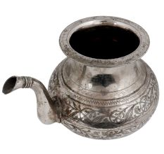 Brass Engraved Floral Design Water Pot With Spout With Silver Polish