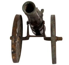 Brass Cannon With Solider Table Decoration