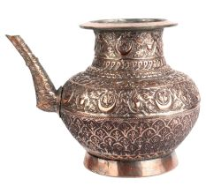 Copper Holy Water Pot With Floral Motifs And Stout